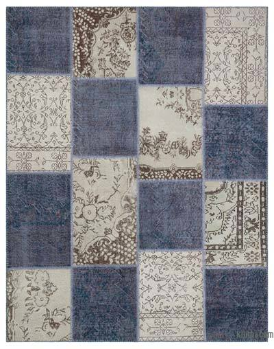 Grey, Beige Over-dyed Turkish Patchwork Rug - 5'10'' x 7'5'' (70 in. x 89 in.)