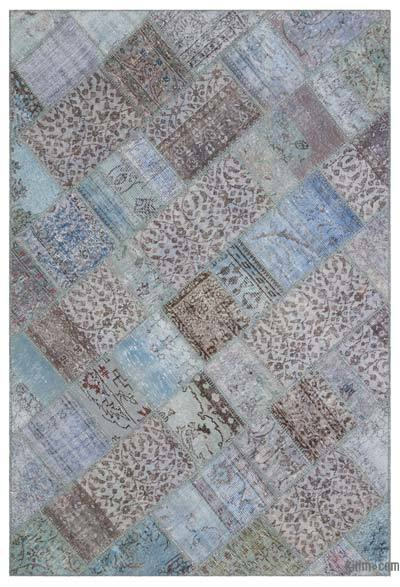 Blue Over-dyed Turkish Patchwork Rug - 5'1'' x 7'7'' (61 in. x 91 in.)
