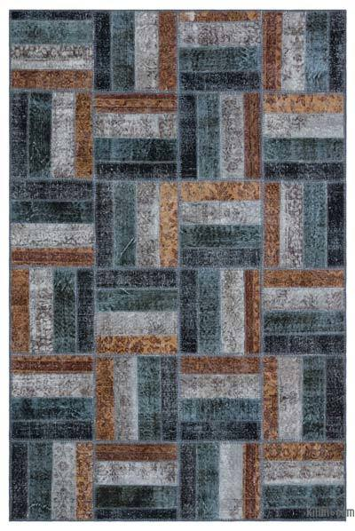 Over-dyed Turkish Patchwork Rug - 5'3'' x 7'11'' (63 in. x 95 in.)