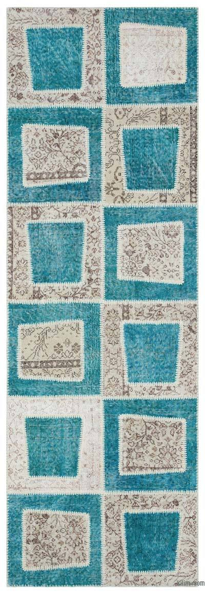 Turquoise, Beige Over-dyed Turkish Patchwork Rug - 3'3'' x 9'11'' (39 in. x 119 in.)