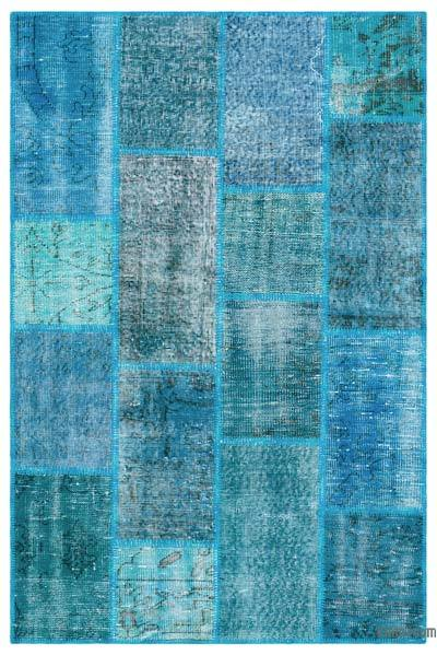Turquoise Over-dyed Turkish Patchwork Rug - 3'11'' x 5'11'' (47 in. x 71 in.)