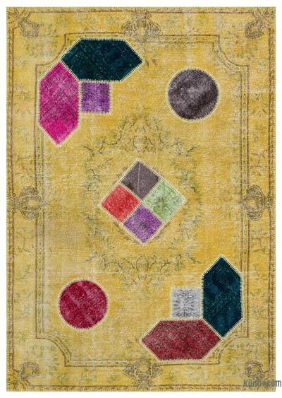 "Over-dyed Turkish Patchwork Rug - 6' x 8'5"" (72 in. x 101 in.)"