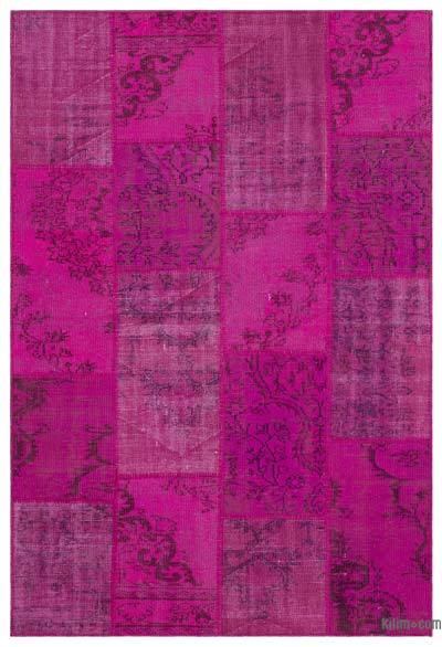 Fuchsia Over-dyed Turkish Patchwork Rug - 5'1'' x 7'7'' (61 in. x 91 in.)