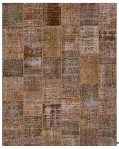 "Over-dyed Turkish Patchwork Rug - 7'10"" x 9'10"" (94 in. x 118 in.)"
