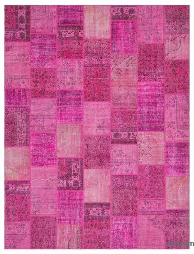 Pink Over-dyed Turkish Patchwork Rug - 6'6'' x 9'10'' (78 in. x 118 in.)