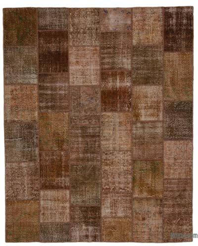 Brown Over-dyed Turkish Patchwork Rug - 7'9'' x 9'10'' (93 in. x 118 in.)