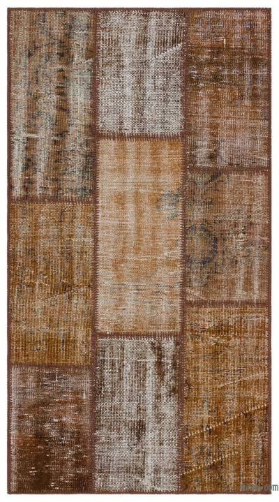 "Over-dyed Turkish Patchwork Rug - 2'8"" x 5' (32 in. x 60 in.)"