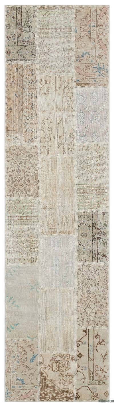 Beige Over-dyed Turkish Patchwork Rug - 2'7'' x 10' (31 in. x 120 in.)
