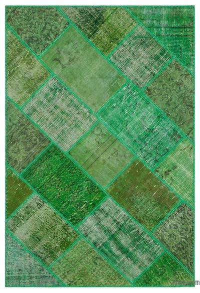 Green Over-dyed Turkish Patchwork Rug - 3'11'' x 5'11'' (47 in. x 71 in.)
