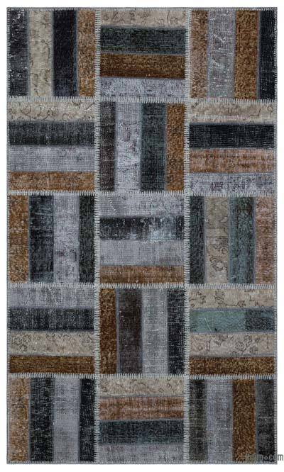 "Over-dyed Turkish Patchwork Rug - 3'11"" x 6'8"" (47 in. x 80 in.)"