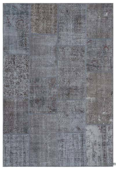 Grey Over-dyed Turkish Patchwork Rug - 5'3'' x 7'7'' (63 in. x 91 in.)