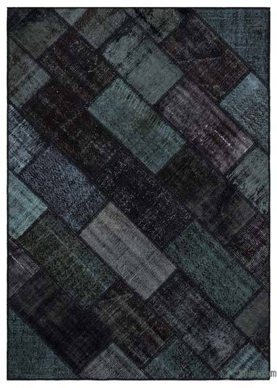 Black Over-dyed Turkish Patchwork Rug - 5'3'' x 7'7'' (63 in. x 91 in.)