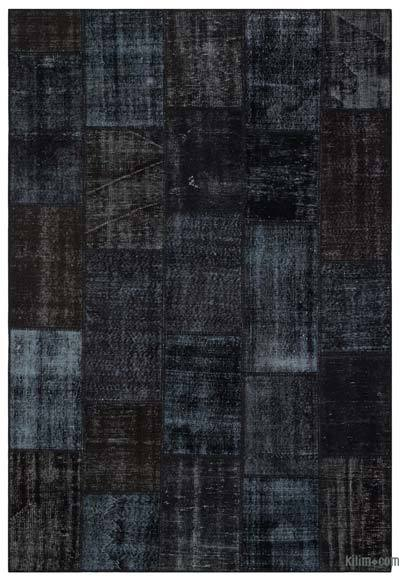 Black Over-dyed Turkish Patchwork Rug - 6'3'' x 9'2'' (75 in. x 110 in.)