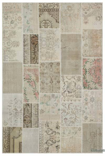 Beige Over-dyed Turkish Patchwork Rug - 6'3'' x 9'2'' (75 in. x 110 in.)