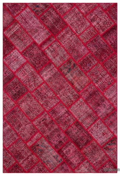 Red Over-dyed Turkish Patchwork Rug - 6'3'' x 9'2'' (75 in. x 110 in.)
