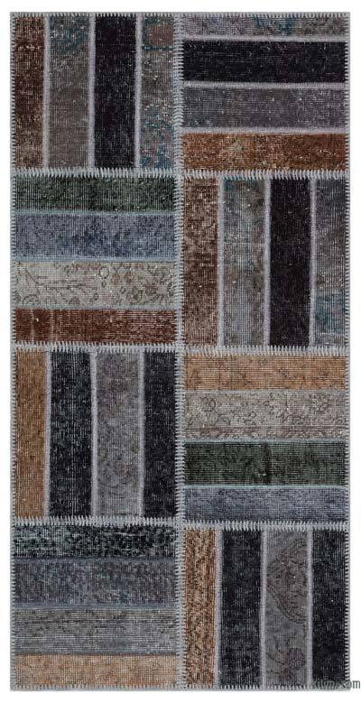 "Over-dyed Turkish Patchwork Rug - 2'7"" x 5'3"" (31 in. x 63 in.)"