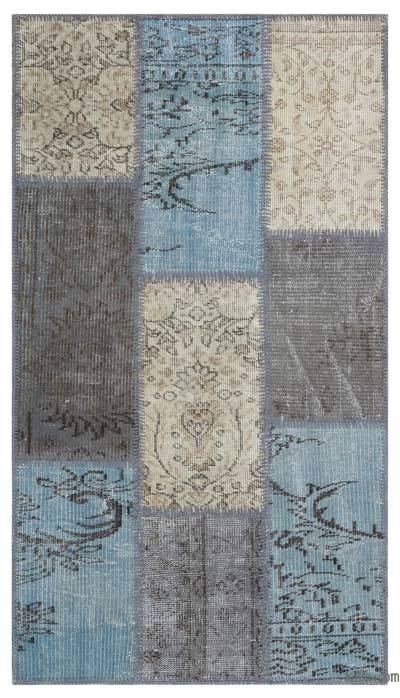 Over-dyed Turkish Patchwork Rug - 2'7'' x 4'11'' (31 in. x 59 in.)