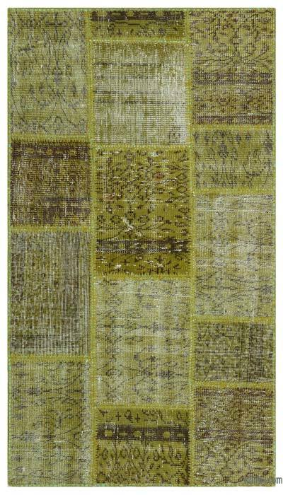 "Over-dyed Turkish Patchwork Rug - 2'7"" x 4'11"" (31 in. x 59 in.)"