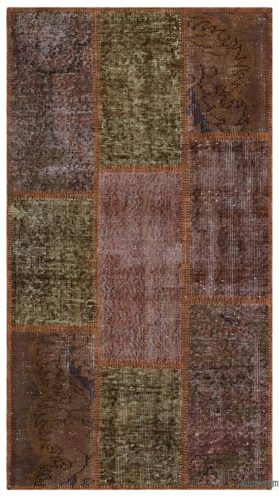 Brown Over-dyed Turkish Patchwork Rug - 2'7'' x 4'11'' (31 in. x 59 in.)