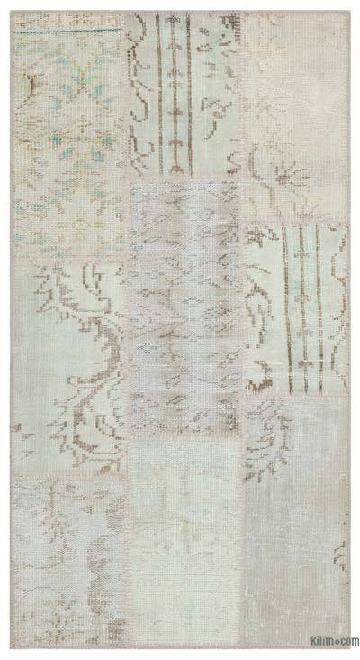 Beige Over-dyed Turkish Patchwork Rug - 2'7'' x 4'11'' (31 in. x 59 in.)