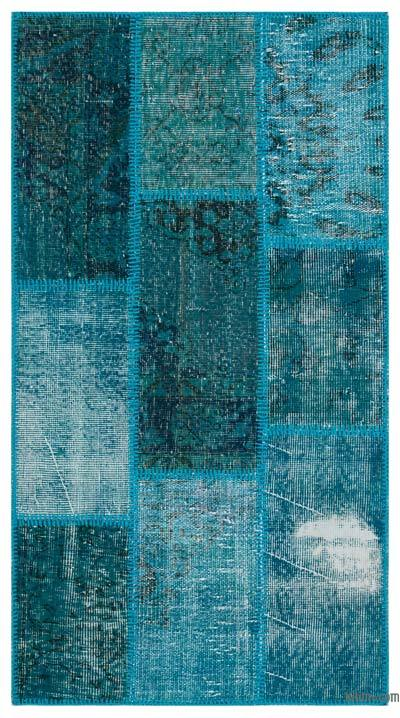 Turquoise Over-dyed Turkish Patchwork Rug - 2'7'' x 4'11'' (31 in. x 59 in.)