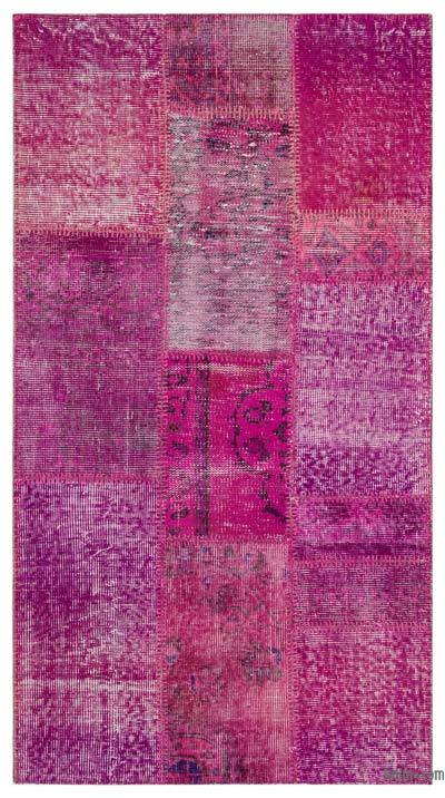 Fuchsia Over-dyed Turkish Patchwork Rug - 2'7'' x 4'11'' (31 in. x 59 in.)