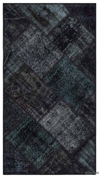 Black Over-dyed Turkish Patchwork Rug - 2'7'' x 4'11'' (31 in. x 59 in.)