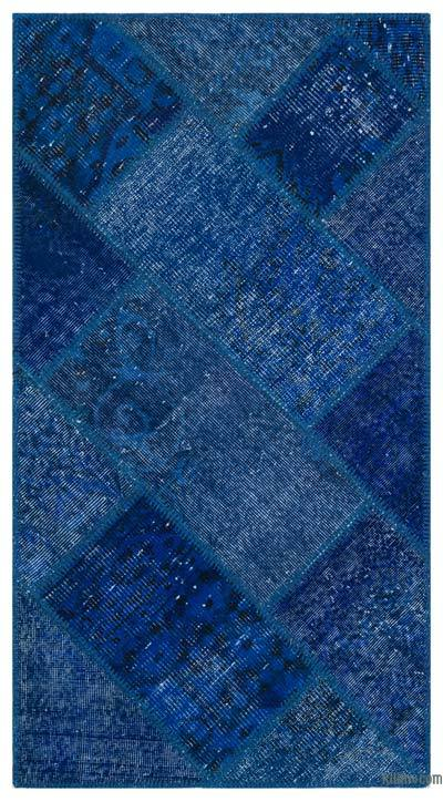 Blue Over-dyed Turkish Patchwork Rug - 2'7'' x 4'11'' (31 in. x 59 in.)