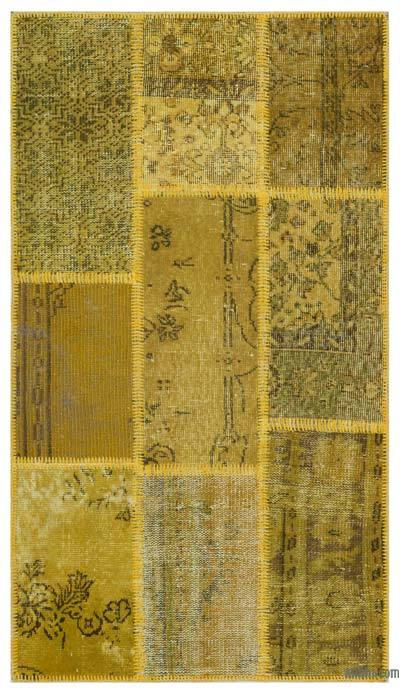 Yellow Over-dyed Turkish Patchwork Rug - 2'7'' x 4'11'' (31 in. x 59 in.)