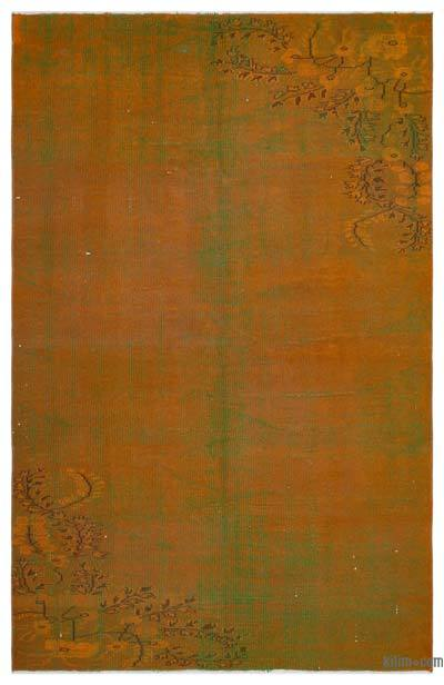 Orange, Green Over-dyed Turkish Vintage Rug - 5'6'' x 8'7'' (66 in. x 103 in.)