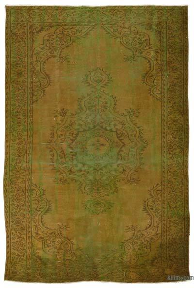 Green, Brown Over-dyed Turkish Vintage Rug - 5'9'' x 8'6'' (69 in. x 102 in.)