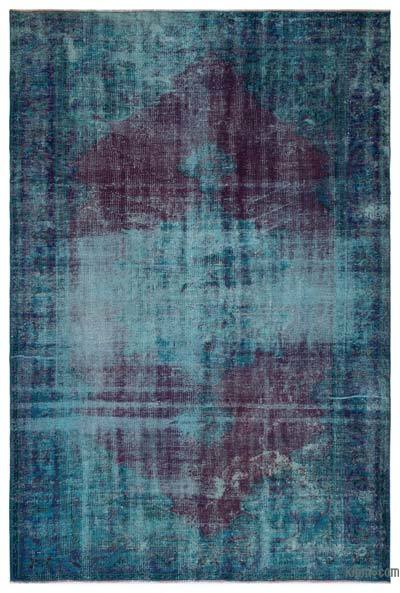 Turquoise, Red Over-dyed Turkish Vintage Rug - 6' x 9'1'' (72 in. x 109 in.)