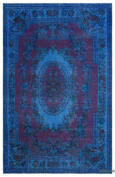 Blue, Pink Over-dyed Turkish Vintage Rug - 5'7'' x 8'8'' (67 in. x 104 in.)