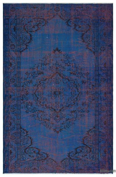 Blue Over-dyed Turkish Vintage Rug - 5'8'' x 8'8'' (68 in. x 104 in.)