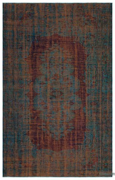 Turquoise, Orange Over-dyed Turkish Vintage Rug - 5'8'' x 8'9'' (68 in. x 105 in.)