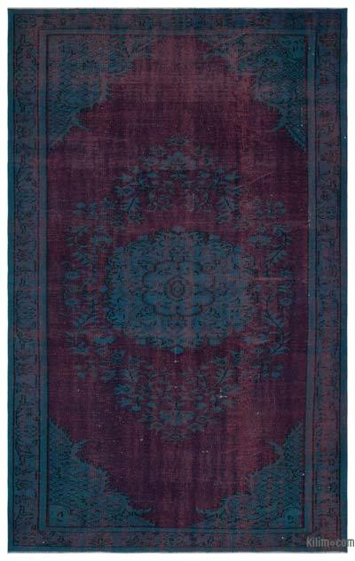 Turquoise, Red Over-dyed Turkish Vintage Rug - 6' x 9'5'' (72 in. x 113 in.)