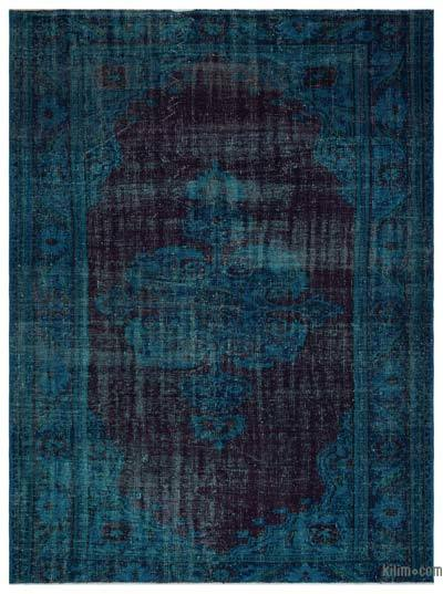 Turquoise, Red Over-dyed Turkish Vintage Rug - 6'2'' x 8'4'' (74 in. x 100 in.)