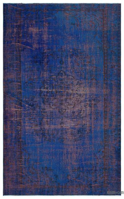 Blue Over-dyed Turkish Vintage Rug - 5'1'' x 8'5'' (61 in. x 101 in.)