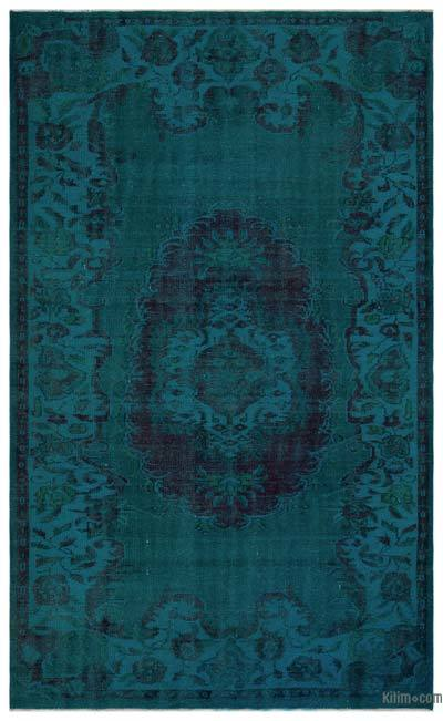 Turquoise Over-dyed Turkish Vintage Rug - 6' x 9'9'' (72 in. x 117 in.)