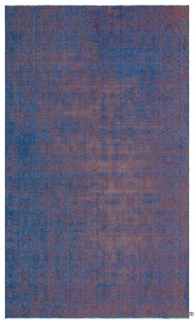 Blue, Pink Over-dyed Turkish Vintage Rug - 4'10'' x 8'4'' (58 in. x 100 in.)
