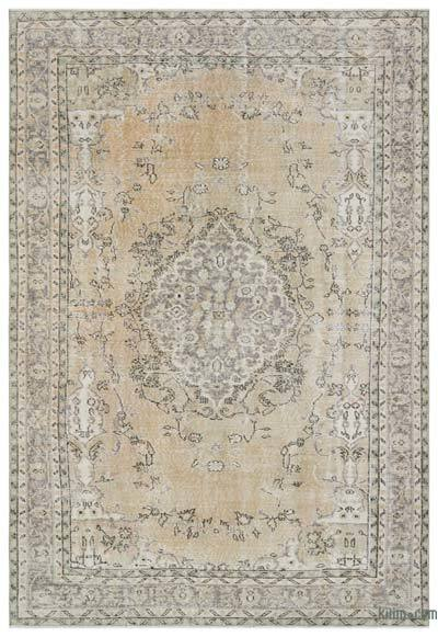 Beige Over-dyed Turkish Vintage Rug - 6'6'' x 9'6'' (78 in. x 114 in.)
