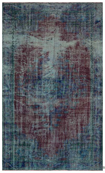Blue, Red Over-dyed Turkish Vintage Rug - 6'3'' x 10'3'' (75 in. x 123 in.)