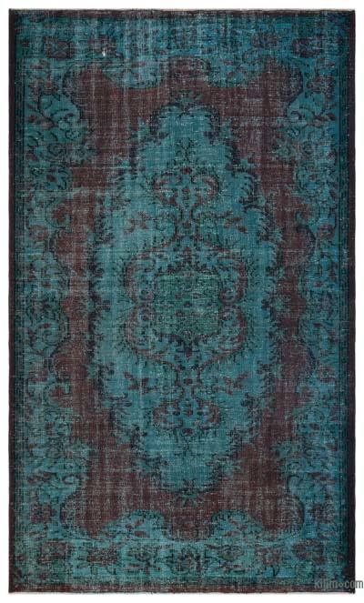 Turquoise, Brown Over-dyed Turkish Vintage Rug - 5'6'' x 9'2'' (66 in. x 110 in.)