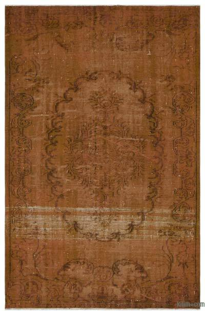 Brown Over-dyed Turkish Vintage Rug - 5'5'' x 8'5'' (65 in. x 101 in.)