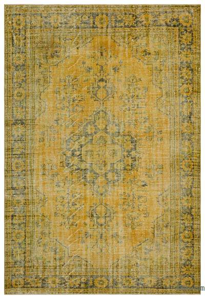 Yellow Over-dyed Turkish Vintage Rug - 6'3'' x 9'2'' (75 in. x 110 in.)