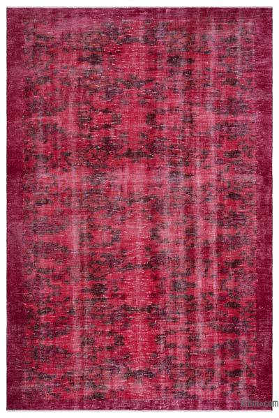 Red Over-dyed Turkish Vintage Rug - 5'6'' x 8'4'' (66 in. x 100 in.)