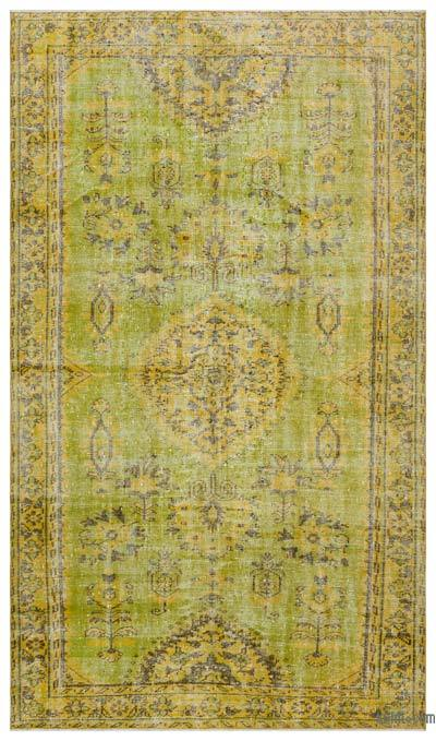 Green, Yellow Over-dyed Turkish Vintage Rug - 5'8'' x 9'8'' (68 in. x 116 in.)
