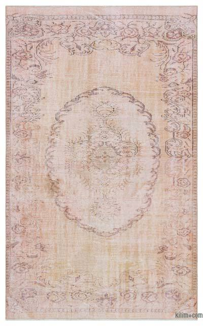 Beige Over-dyed Turkish Vintage Rug - 5'3'' x 8'6'' (63 in. x 102 in.)