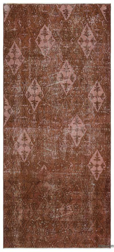 Brown Over-dyed Turkish Vintage Rug - 3'2'' x 7' (38 in. x 84 in.)