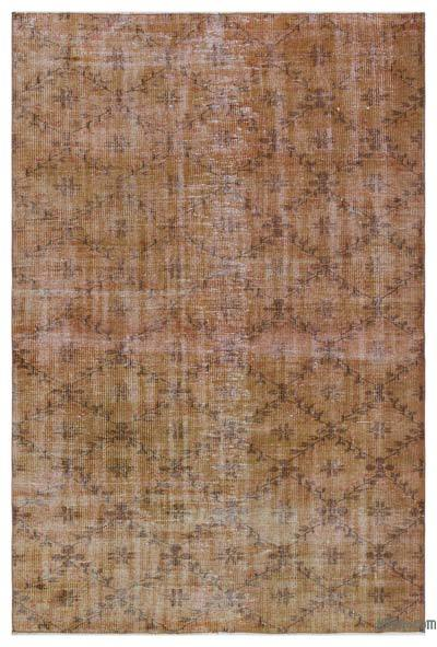 Brown Over-dyed Turkish Vintage Rug - 4'11'' x 7'7'' (59 in. x 91 in.)